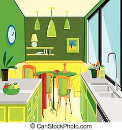 flat designed kitchen work space - vector illustration of a...