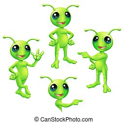 Cartoon Green Alien Set