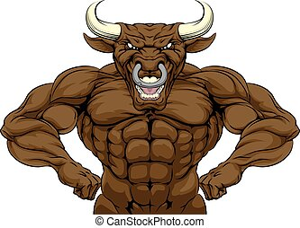 Tough Bull Mascot - Cartoon tough mean strong Bull sports...