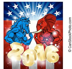 Elephant Fighting Donkey 2016 Election Concept - A donkey...