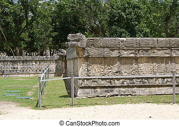 Wall of Skulls, Chichen Itza, Mexic - Details of a Mexican...