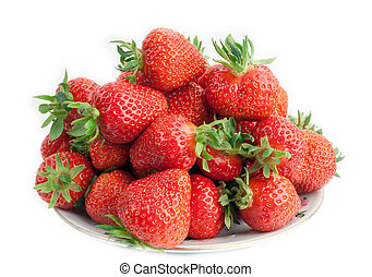 freshly harvested strawberries