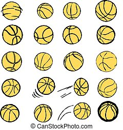 Set Ball BASKETBALL icons symbols