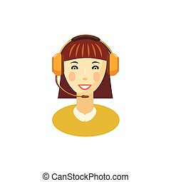 Female customer support operator with headset icon