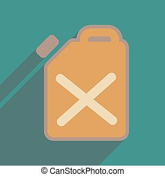 Flat web icon with long shadow jerrycan - Flat web icon with...