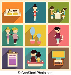 Concept of flat icons with long shadow family life