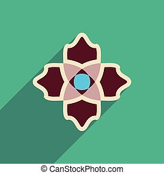 flat icon with long shadow flower silhouette - flat icon...