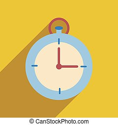 Flat web icon with long shadow stopwatch