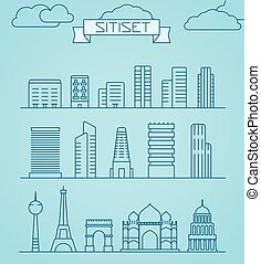 World famous sights abstract lineart silhouettes