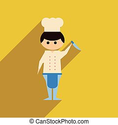 Flat web icon with long shadow Man cook