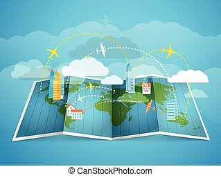 Airplanes flying over the abstract map with modern buildings