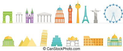 Famous buildings color silhouettes collection. Lineart...