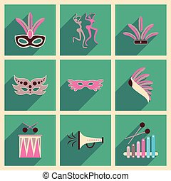 Concept of flat icons with long shadow Brazilian Carnival