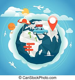 Summer season vacation concept. Travel illustration