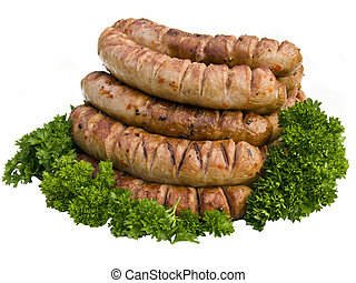 Grill sausage with parsley isolated on white