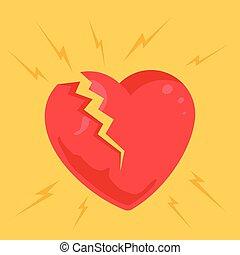 Broken heart Vector flat cartoon illustration