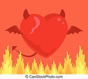 Devil heart Vector flat cartoon illustration