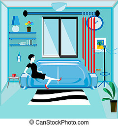 flat designed sitting room with relaxing woman - vector...