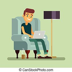 Man with laptop relaxing in chair. Vector flat cartoon...