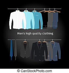 Business men casual clothing - Business clothing on hangers....