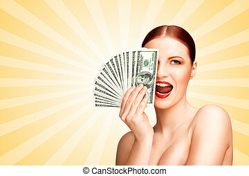 Spending money. - Creative portrait of a nude girl with...