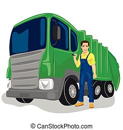 Municipal worker next to recycling garbage collector truck...