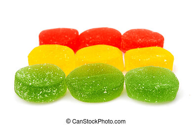 fruit jelly isolated on white background