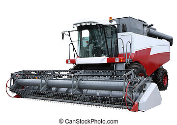 Red modern combine separately on a white background