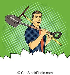 Man with garden tools. Vector illustration in retro comic pop art style