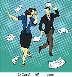 Man and woman dancing with paper documents flying around. Vector illustration in comics retro pop art style