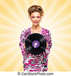 Violet vinyl - Colorful photo of a happy fashionable hippie...