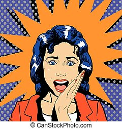 Surprised woman face with open mouth. Vector illustration in...