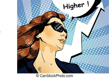 Woman in sunglasses with arrow graph. Vector illustration,...