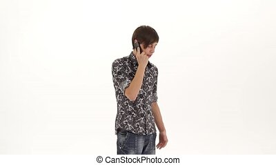 Young Man Having Successful Phone Call