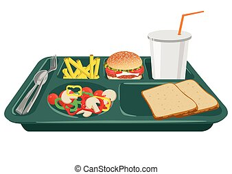 A school lunch tray with copy space - A school lunch tray on...