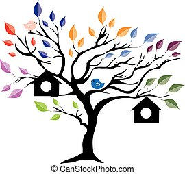 tree house - vector tree with bird houses