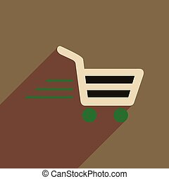 Flat web icon with long shadow cart