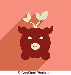 Flat web icon with long shadow eco pig - Flat web icon with...
