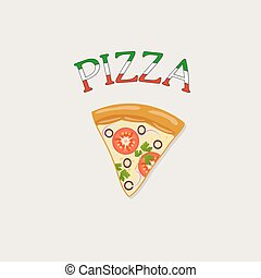Pizza classic tray - pizza on a tray label - vector...