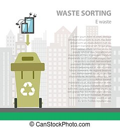 E-waste sorting flat concept. Vector illustration of...