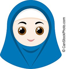 Cartoon girl with hijab - Cartoon girl with blue hijab...