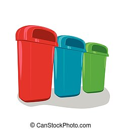 Different colored recycle bins set