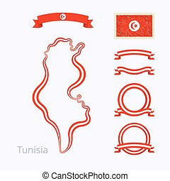 Colors of Tunisia - Outline map of Tunisia Border is marked...