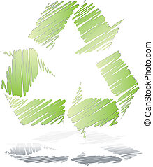 Drawing recycle symbol vector