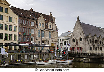 Lys river embankment, Ghent, Belgium - historical houses on...