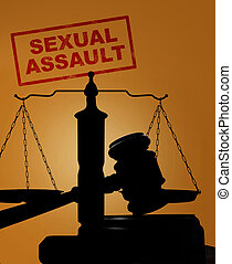 Sexual Assault stamp and gavel with scales - Court gavel and...
