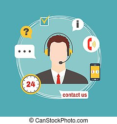 Male call center avatar icon with service icons. Support...