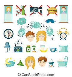 Vector insomnia icons in flat style - Set of sleep and...