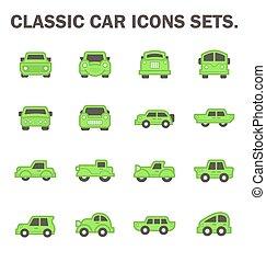 Classic car vector - Classic car icons sets.