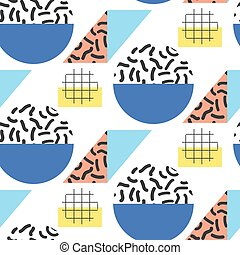 Memphis retro 80s seamless pattern Checkered lines, abstract...